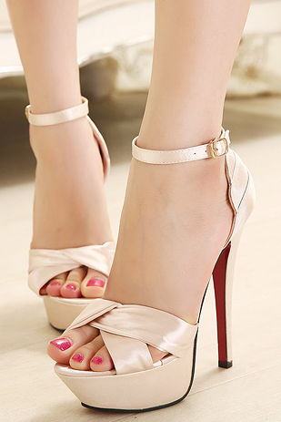 Sexy satin high-heeled sandals--beige