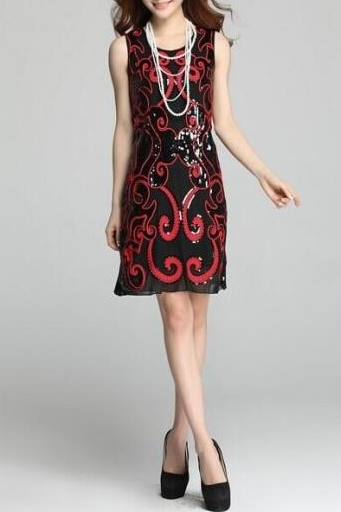 2015 red embroidery sequins high-grade brand temperament of cultivate one's morality vest dress dress