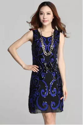 2015 embroidery sequins high-grade brand temperament of cultivate one's morality vest dress dress