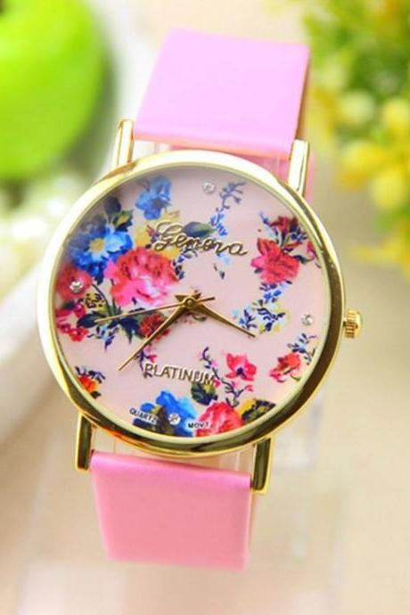 Dress Rose Flower pink strap Woman Watch