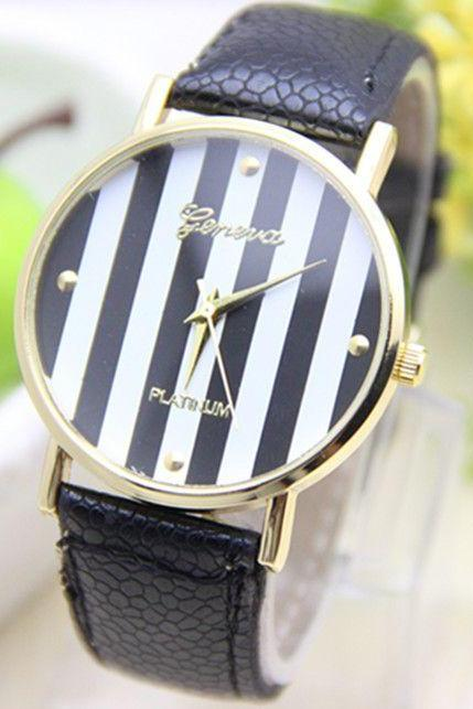 Stripes black Dial Party Woman Watch