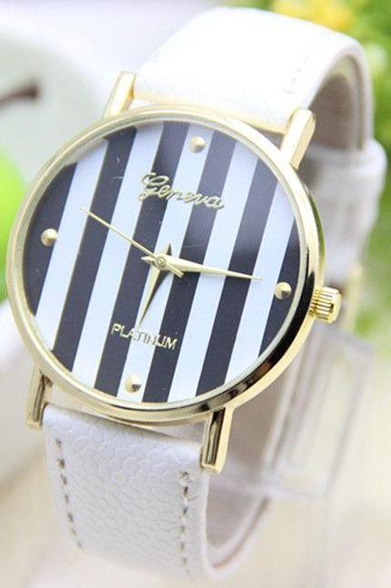Stripes white Dial Party Woman Watch