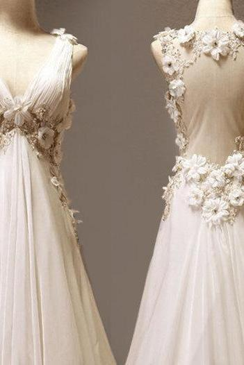 Custom Made A-line V-neck Neckline Court Train Wedding Dress/ Custom Long Wedding Dress/ Bridal Dresses 2015