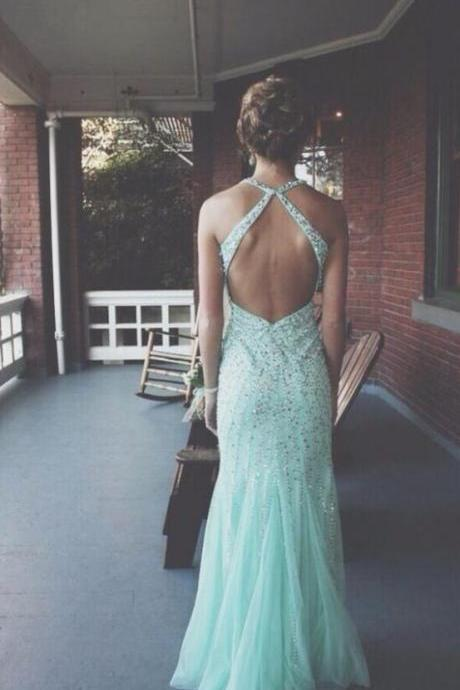 Custom Made A line Open Back Prom Dresses, Backless Prom Dresses, Formal Dresses, Open Back Evening Dresses