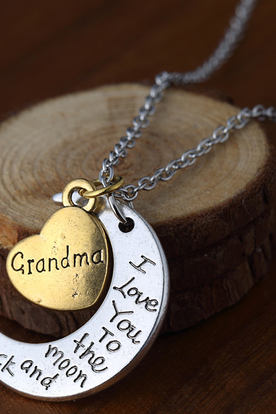 Love Grandma Crescent Pendant Necklace