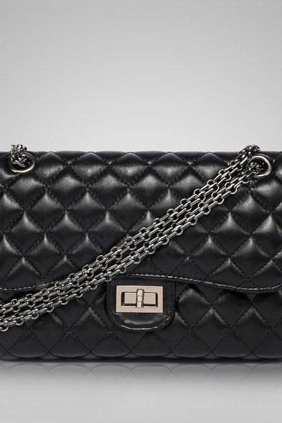 Diamond Quilted Shoulder Bag with Linked Chain Straps