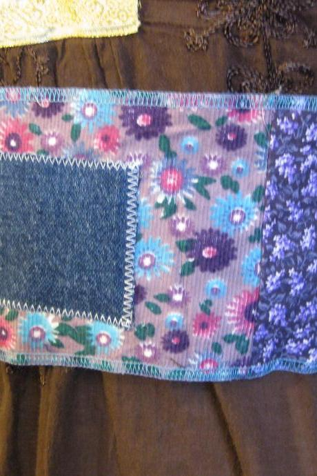 Patchwork Obi Gypsy Sash Tie Hippie Pocket Hip Belt Womens Upcycled Reversible in Blue Teal Purple Summer Festival Wear