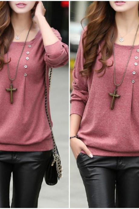 Casual Round Neck Long Sleeve T Shirt