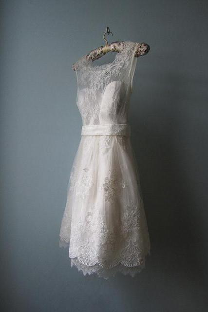 Wd206 Romantic Wedding Dress,Short Wedding Party Dress,Lace Party Dress