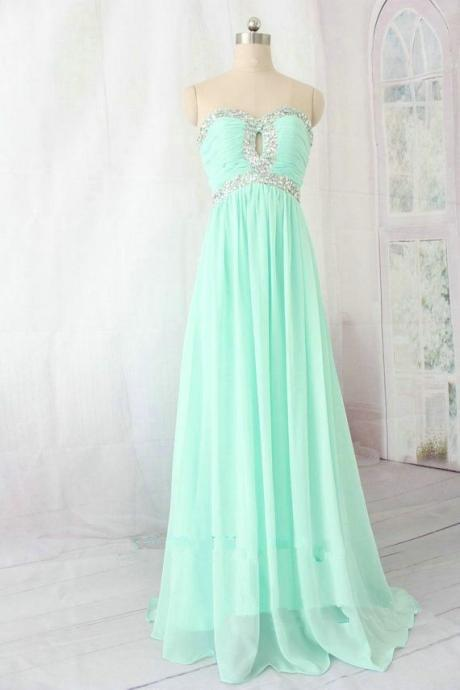 Strapless Sweetheart A-line Chiffon Long Prom Dress with Beads Embellishment