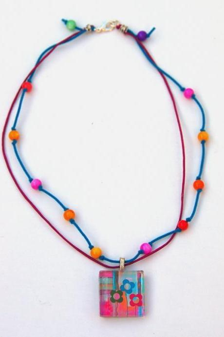 Colorful Spring Necklace with Original Art Pendant