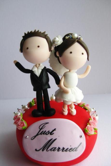 Wedding Clay Cake Topper Flower Decorative - (Not Edible)