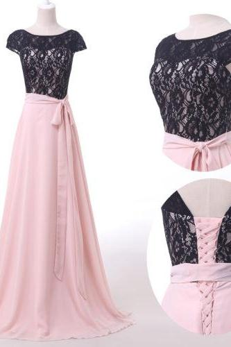 Cap Sleeved Lace A-line Long Prom Dress. Evening Dress, Bridesmaid Dress Featuring Lace-Up Back and Bow Accent