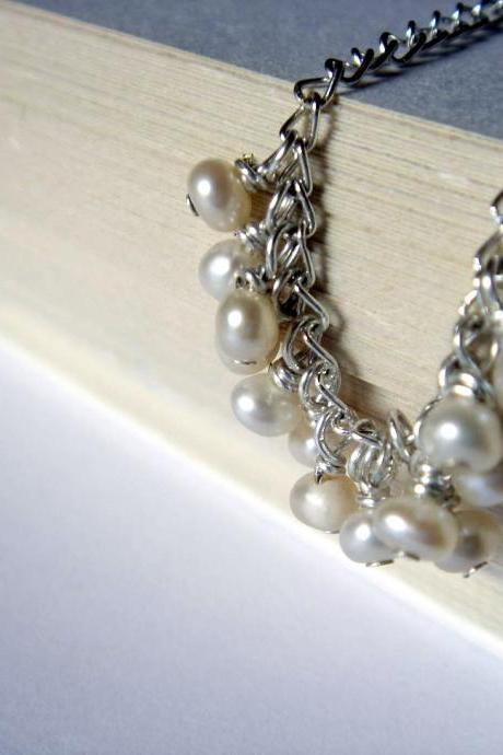 Mini Freshwater Pearl Dangle Sterling Silver Necklace