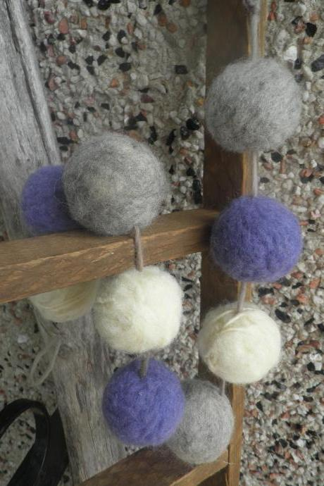 Wool ball garland, wool garland, Lavender scented garland, eco friendly home decor, natural room freshener, closet freshener, shelf decor, unique home decor, one-of-a-kind wool piece.