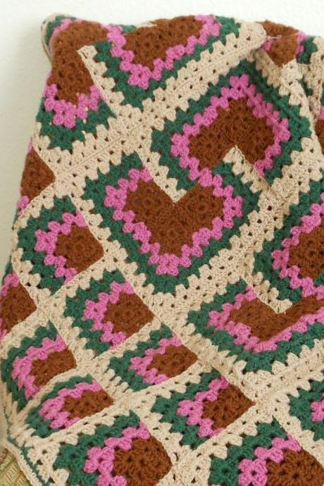 Crocheted Afghan Blanket Country Colors in Granny Square
