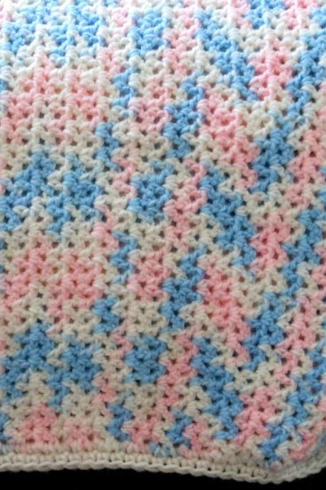 Crocheted Baby Blanket Pink and Blue Unisex