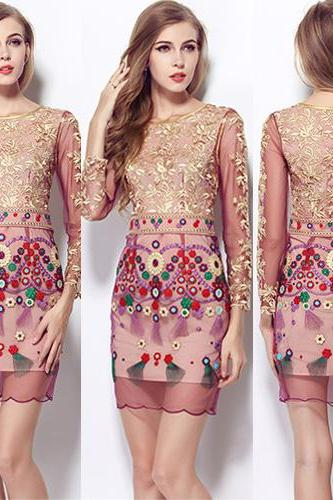 Elegant Long Sleeve Round Neck Embroidery Lace Dress