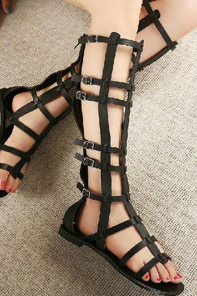 Strappy Black Gladiator Sandals