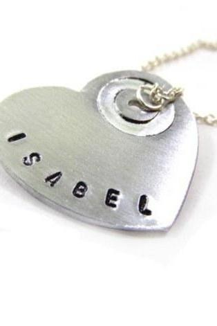 Hand Stamped Jewelry - Necklace Heart - personalized, hand stamped with your text!