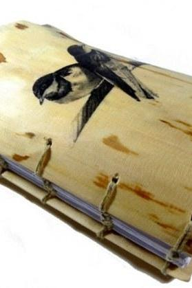 Wedding Guest Book - Real Wooden Album with BIRDS