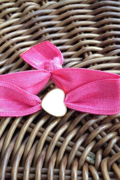 Elastic Hair Ties (and Bracelets) w/ White Face Gold Toned Heart