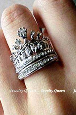 US SIZE 7 Cute Princess Style Crown Ring