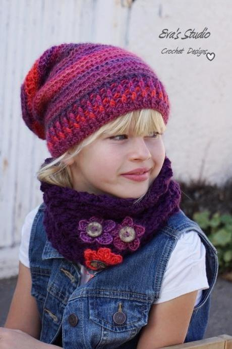 Crochet Hat and Neck Warmer, Sizes are for Toddler, Child, and Adult, Crochet Set, Pattern PDF, Hat Crochet Pattern, Pattern No. 78