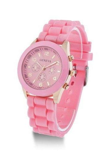 Rubber Strap pink Casual Quartz Woman Watch