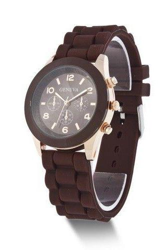 Rubber Strap black Casual Quartz Woman Watch