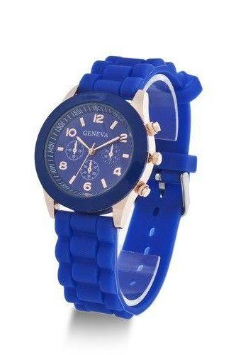 Rubber Strap blue Casual Quartz Woman Watch