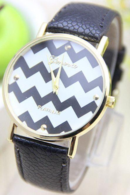 Stripes white Dial Party Holiday Gift Woman Watch