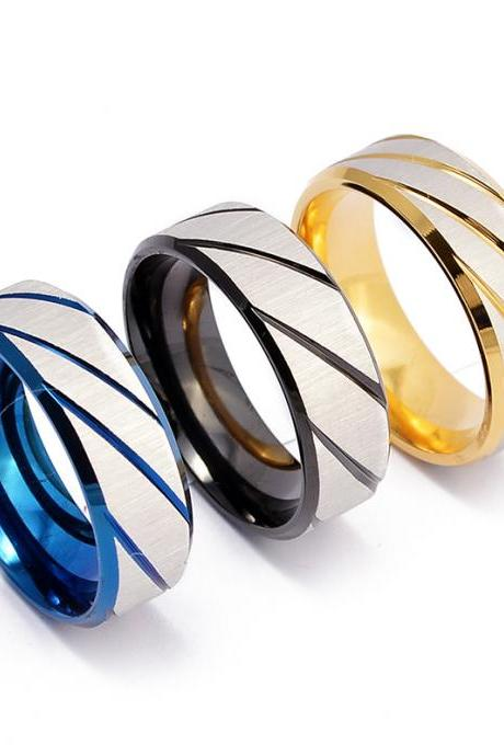 Titanium Steel Band Ring in Blue/Golden/Black