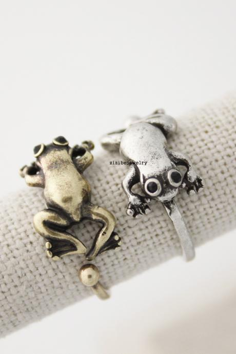 Cute frog rAdjustable Wrap Ring, Frog Ring, Animal Rings, Animal Wrap Around Rings, Frog Ring, R0429S