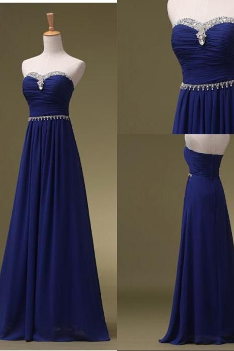 Custom Made Prom Dresses, Royal Blue Prom Dresses, Long Bridesmaid Dresses, Long Evening Dresses, Strapless Evening Gowns, Formal Dress, Party Dresses