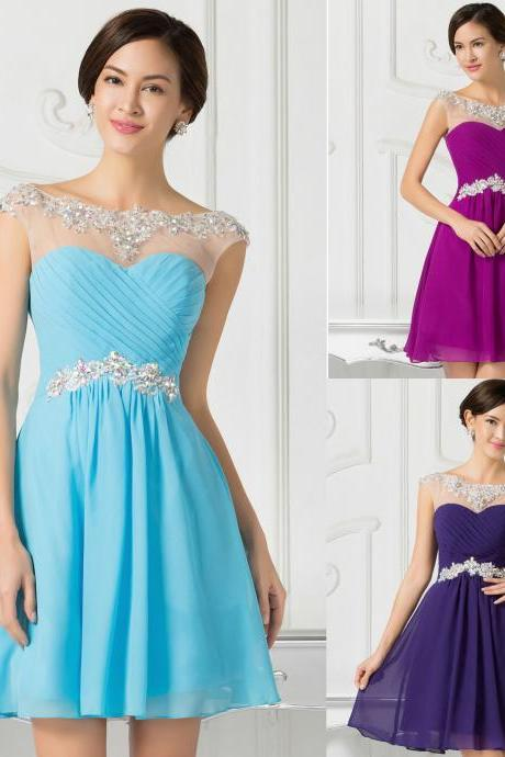 2015 Sexy Beading Short Dresses Bridesmaid Evening Party Prom Gown Wedding Dress