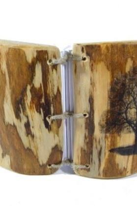 Wedding Guest Book - Real Wooden Album with Tree