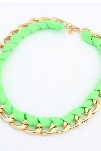 Chain green choker fashion woman necklace