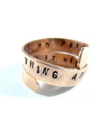 Hand Stamped Jewelry - Ring - Personalized Adjustable handstamped