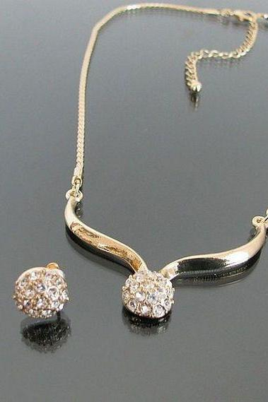Pendant rhinestone plus earrings jewelry set woman necklace