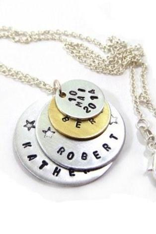 Hand Stamped Jewelry - Necklace Personalized with Your Text