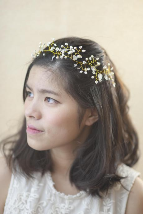 Bridal Headpiece - Bride Accessory - Simple Woodland Style Head piece - Hairband