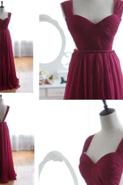 Custom Made Queen Anne Neckline Pleated Chiffon Floor-Length Evening Dress, Prom Dress, Formal Cocktail Dress, Bridesmaid Dresses