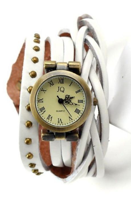 Leather white Strap Dress Wrap Woman Watch