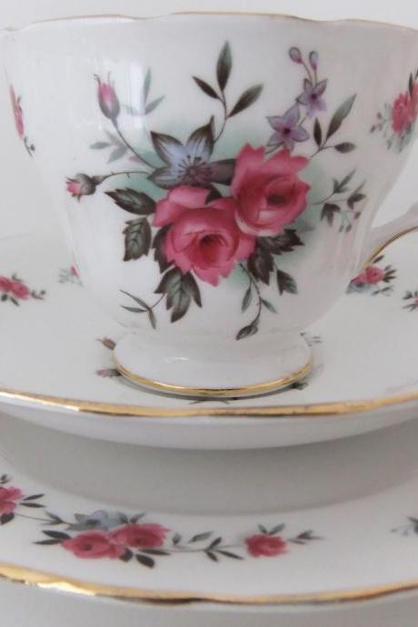 Vintage Queen Anne, Ridgway china tea cup, saucer and side plate with roses