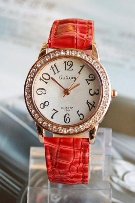 Young And Restless red Leather Woman Watch