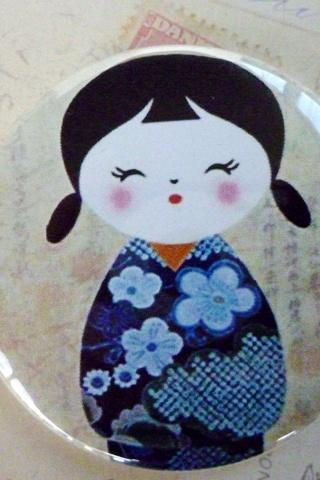Pocket Mirror - Kokeshi Doll with Blue dress