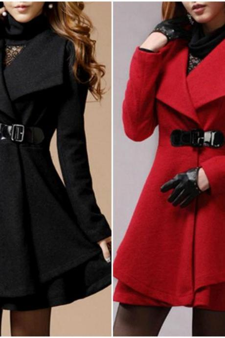 Classy Turn Down Collar Winter Coat