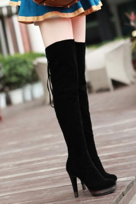 Black Faux Suede Pointed-Toe High Heel Over-The-Knee Boots Featuring Lace-Up Back