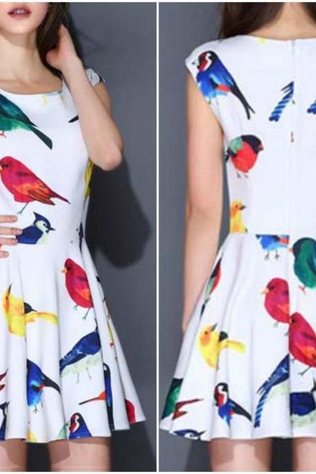 Lovely Retro Bird Print A Line Dress